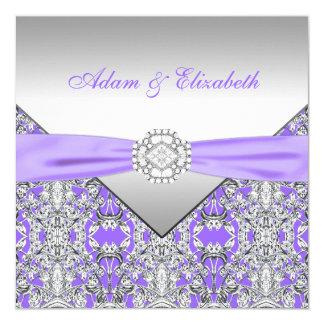 Elegant Silver and Lavender Purple Lace Wedding 13 Cm X 13 Cm Square Invitation Card