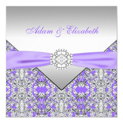 Purple And Silver Wedding Backgrounds: Elegant Silver And Lavender Purple Lace Wedding 13 Cm X 13