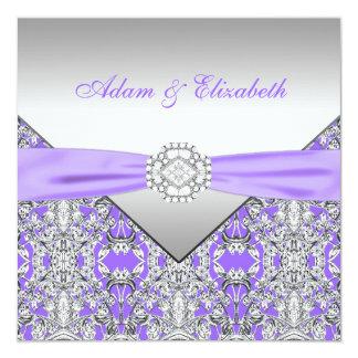 Elegant Silver and Lavender Purple Lace Wedding Personalized Invitation