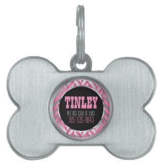 Elegant Silver and Pink Herringbone   DIY Name Pet ID Tag