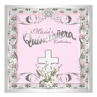 Elegant Silver and Pink Religious Quinceanera Custom Announcements