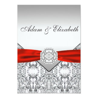 Elegant Silver and Red Wedding Invitations