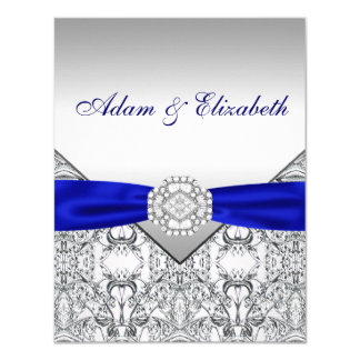 Elegant Silver and Royal Blue Save the Date Card