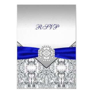 Elegant Silver and Royal Blue Wedding RSVP 9 Cm X 13 Cm Invitation Card