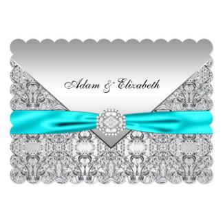 Elegant Silver and Teal Blue Lace Wedding 13 Cm X 18 Cm Invitation Card