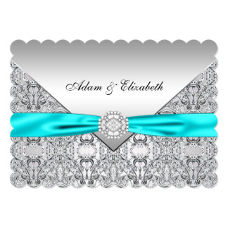 """Elegant Silver and Teal Blue Lace Wedding 5"""" X 7"""" Invitation Card"""