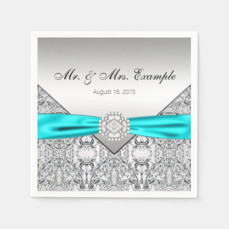 Elegant Silver and Teal Blue Wedding Paper Napkin