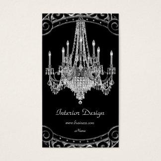Elegant Silver Black Chandelier Interior Design Business Card
