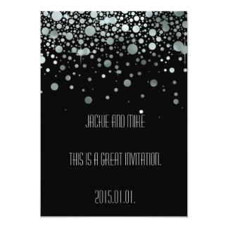 "Elegant Silver Black Foil Invitation 5"" X 7"" Invitation Card"
