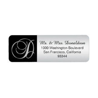 Elegant Silver Black Monogram Letter 'D' Return Return Address Label
