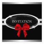 Elegant Silver Black & White Stars Red Bow 13 Cm X 13 Cm Square Invitation Card
