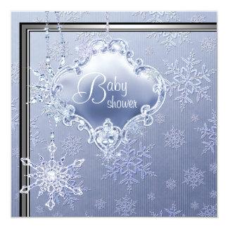 Elegant Silver Blue Snowflake Baby Boy Shower Card