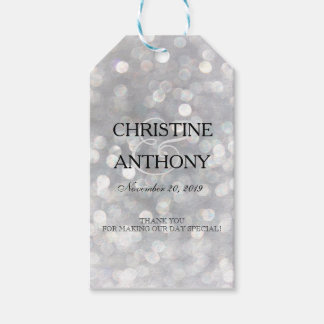 Elegant Silver Bokeh Lights Wedding Favor Tags