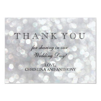 Elegant Silver Bokeh Lights Wedding Thank You Note Card