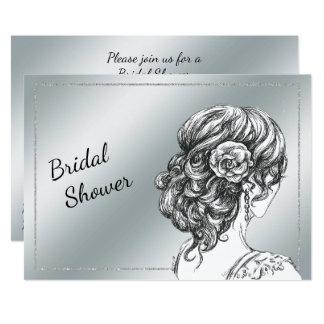 Elegant Silver Bridal Shower Invitation