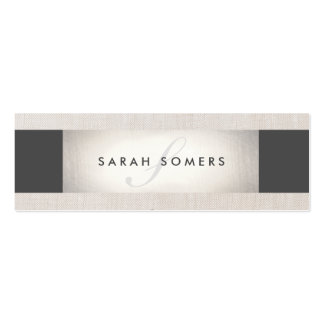 Elegant Silver Chic Striped Beige Monogram Pack Of Skinny Business Cards