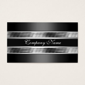 Elegant Silver Chrome Metal Black 3 Business Card