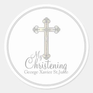 elegant silver cross CHRISTENING party favor label Round Sticker