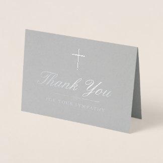 Elegant Silver Cross Sympathy Thank You Foil Card