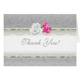 Elegant Silver Damask and Pink Rose Thank You Card