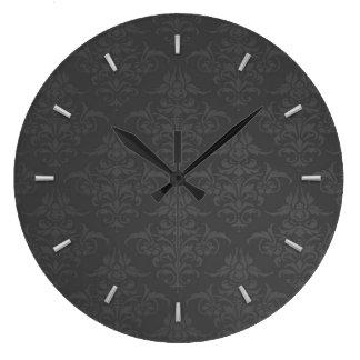 Elegant Silver Damask Pattern Large Clock