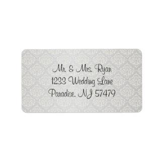Elegant Silver Damask Style Wedding 1 Address Label