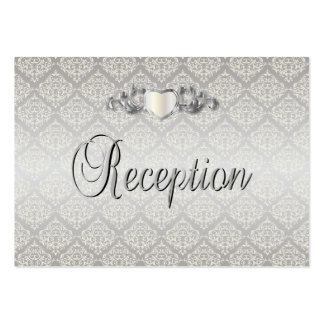 Elegant Silver Damask Style Wedding 1 Pack Of Chubby Business Cards