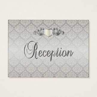Elegant Silver Damask Style Wedding 1 Business Card