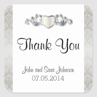 Elegant Silver Damask Style Wedding 2 Square Sticker