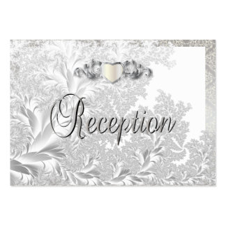 Elegant Silver Damask Style Wedding Pack Of Chubby Business Cards
