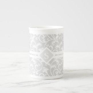 Elegant Silver Damask Swirl Monogram Tea Cup