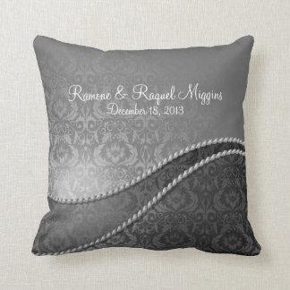 Elegant Silver Damask Wedding Pillow