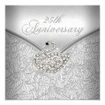 Elegant Silver Damask White Swan 25th Anniversary 13 Cm X 13 Cm Square Invitation Card