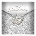 Elegant Silver Damask White Swan 25th Anniversary Personalized Announcement