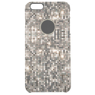 Elegant Silver Disco Glitter &  Background Clear iPhone 6 Plus Case