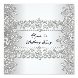 Elegant Silver Floral Birthday Party Card
