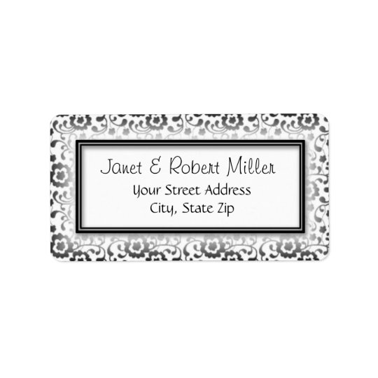 Elegant Silver Floral Swirls Pattern Frame Label