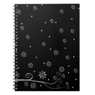 Elegant Silver Flowers on Black Notebook