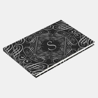 Elegant Silver Foil Look Filigree Scrollwork Black Guest Book