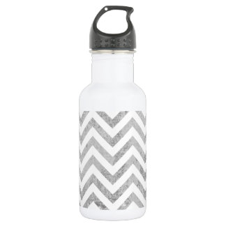 Elegant Silver Foil Zigzag Stripes Chevron Pattern 532 Ml Water Bottle