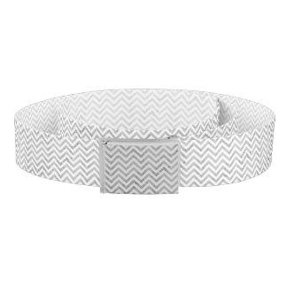 Elegant Silver Foil Zigzag Stripes Chevron Pattern Belt