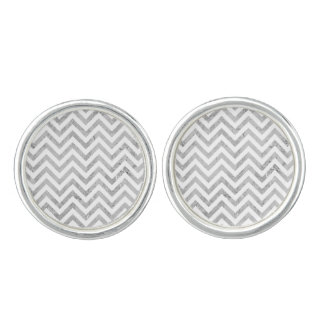 Elegant Silver Foil Zigzag Stripes Chevron Pattern Cuff Links