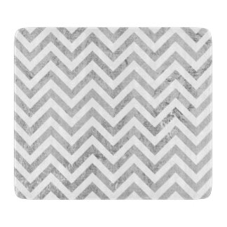 Elegant Silver Foil Zigzag Stripes Chevron Pattern Cutting Board