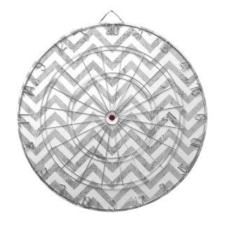 Elegant Silver Foil Zigzag Stripes Chevron Pattern Dartboard