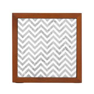 Elegant Silver Foil Zigzag Stripes Chevron Pattern Desk Organiser