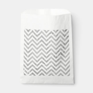 Elegant Silver Foil Zigzag Stripes Chevron Pattern Favour Bag