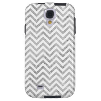 Elegant Silver Foil Zigzag Stripes Chevron Pattern Galaxy S4 Case