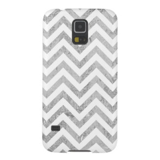 Elegant Silver Foil Zigzag Stripes Chevron Pattern Galaxy S5 Covers