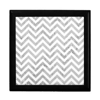 Elegant Silver Foil Zigzag Stripes Chevron Pattern Gift Box