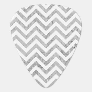 Elegant Silver Foil Zigzag Stripes Chevron Pattern Guitar Pick